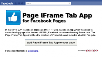 Facebook Page iFrame Tab App Launched